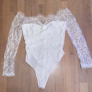 Lace long sleeve body suit